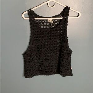 VS Pink black crochet tank